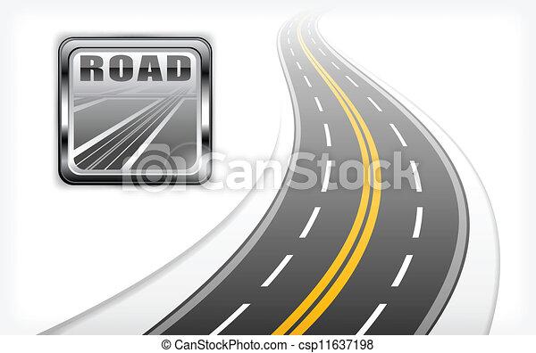 道, ハイウェー, アイコン - csp11637198