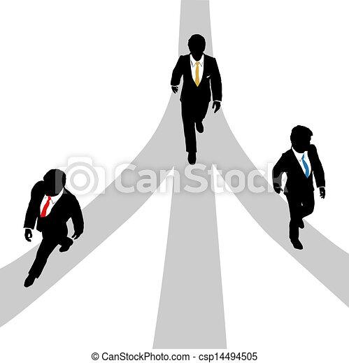 道, ビジネス男性たち, 歩きなさい, 3, そらしなさい - csp14494505