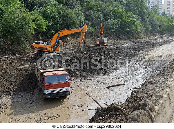 道, 地すべり, 掘削機, 清掃 - csp29802624