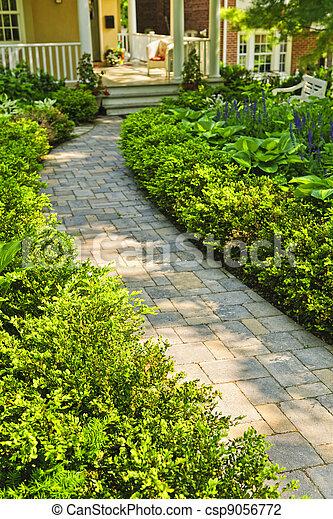 道, 石, 美化される, 庭, 家 - csp9056772