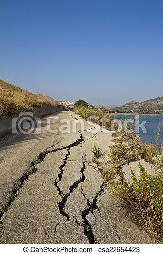 道, 破壊された, 地すべり - csp22654423