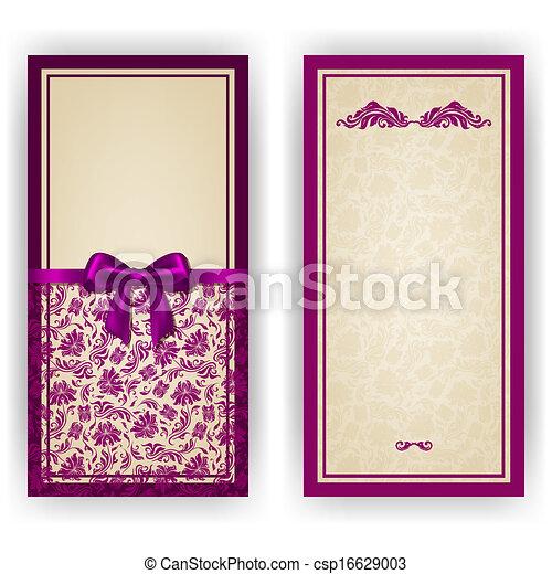邀请, 巨大, 矢量, 奢侈, 样板, 卡片 - csp16629003