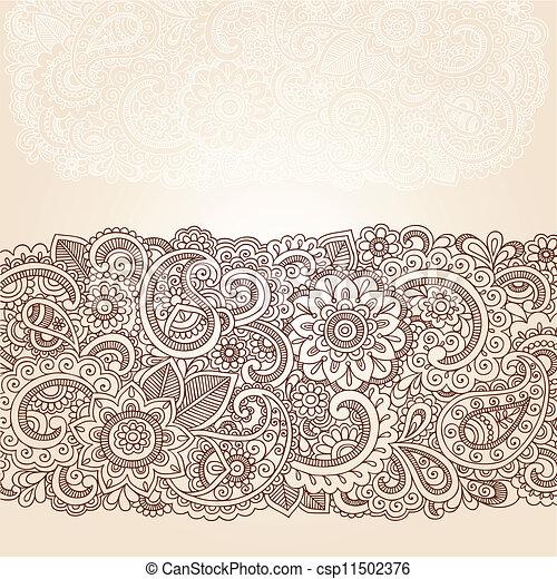 邊框, 佩斯利螺旋花紋呢, 指甲花, 設計, 花 - csp11502376