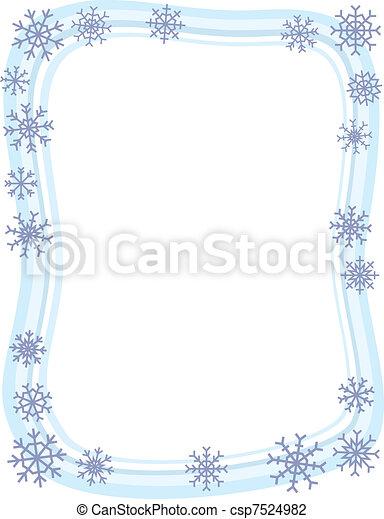 邊框, 冬天, 雪花 - csp7524982