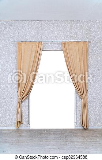 部屋, カーテン, ライト, ドア, 上に - csp82364588