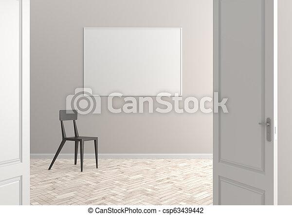 部屋, door., イラスト, スカンジナビア人, interior., 開いた, 空, 3d - csp63439442
