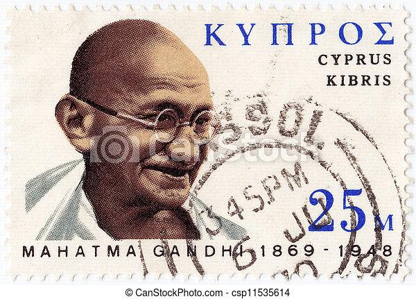 郵送料, :, 1978, 切手, 提示, -, gandhi, mohandas, 印刷される, ∥ころ∥, キプロス, karamchand - csp11535614