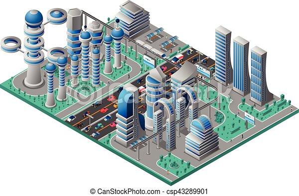 都市の景観, 等大, 未来派, テンプレート - csp43289901