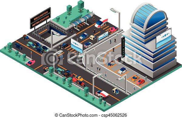 都市の景観, 等大, 構成, 未来派 - csp45062526