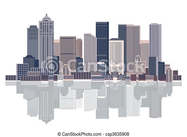都市の景観, 都市, 背景, 芸術 - csp3635908