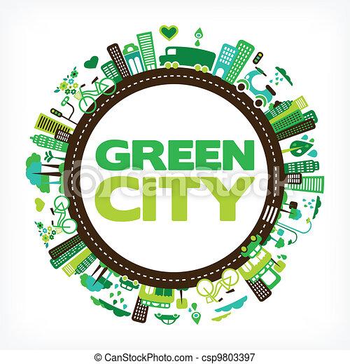 都市, エコロジー, -, 環境, 緑, 円 - csp9803397