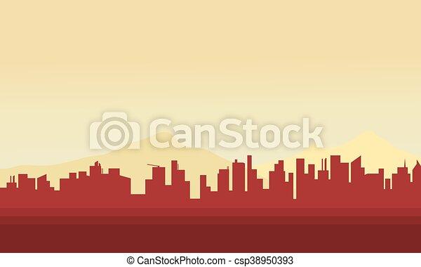 都市, シルエット, 大きい - csp38950393