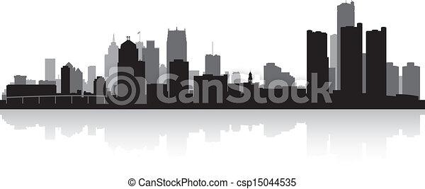 都市 スカイライン, シルエット, デトロイト - csp15044535