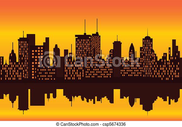 都市 スカイライン, 日没, ∥あるいは∥, 日の出 - csp5674336