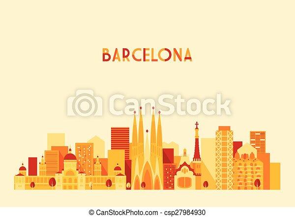 都市, スタイル, 平ら, 大きい, バルセロナ, スカイライン, ベクトル, スペイン - csp27984930