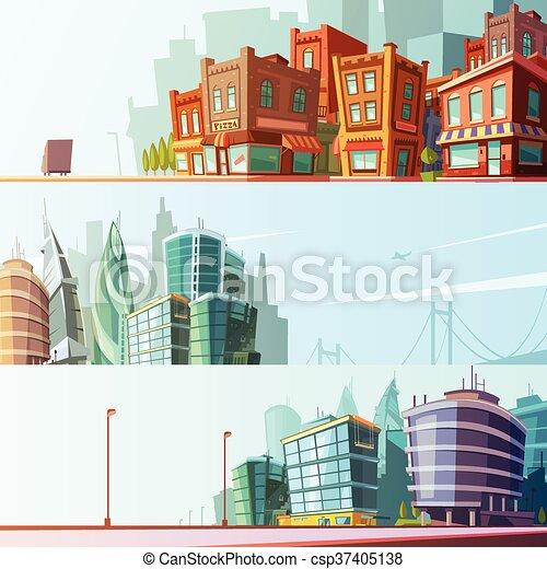 都市, セット, スカイライン, 3, 水平なバナー - csp37405138
