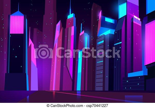 都市, ネオン, lights., 夜, 都市の景観, 未来派 - csp70441227