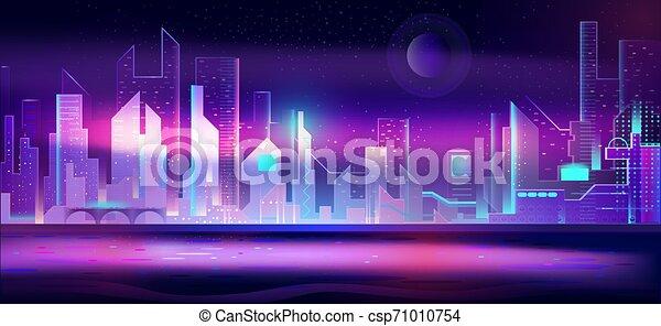 都市, ネオン, lights., 夜, 都市の景観, 未来派 - csp71010754