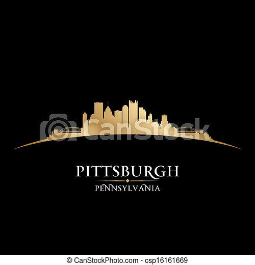 都市, ピッツバーグ, イラスト, silhouette., ペンシルバニア, スカイライン, ベクトル - csp16161669