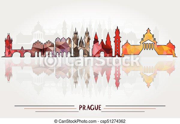 都市, プラハ, ベクトル, 背景 - csp51274362