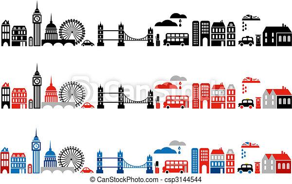 都市, ベクトル, ロンドン, イラスト - csp3144544
