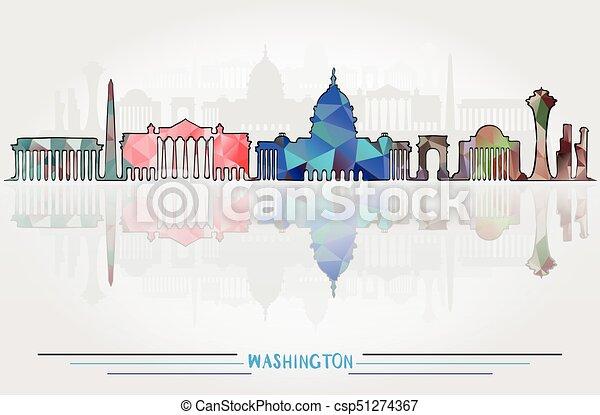 都市, ベクトル, ワシントン, 背景 - csp51274367