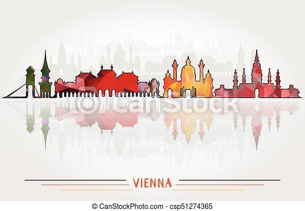都市, ベクトル, 背景, ウィーン - csp51274365