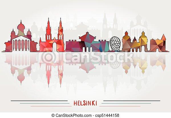 都市, ベクトル, 背景, ヘルシンキ - csp51444158