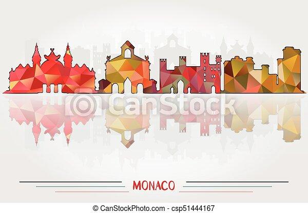 都市, ベクトル, 背景, モナコ - csp51444167