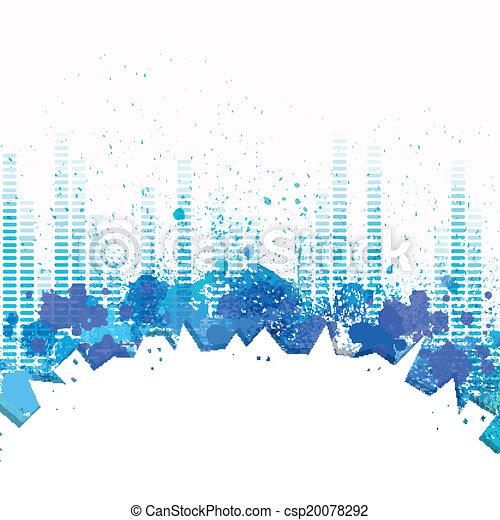 都市, ベクトル, 音楽, 背景, イコライザ - csp20078292