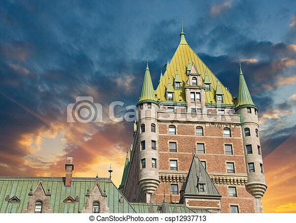 都市, ホテル frontenac, すばらしい, ケベック, 城, canada., 光景 - csp12937713