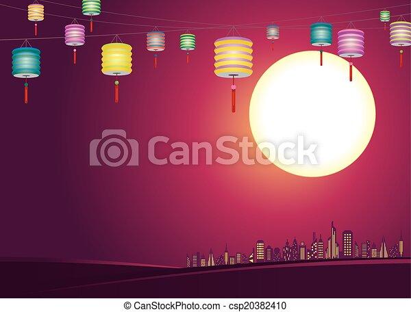 都市, ランタン, 中国語, mid-autumn - csp20382410