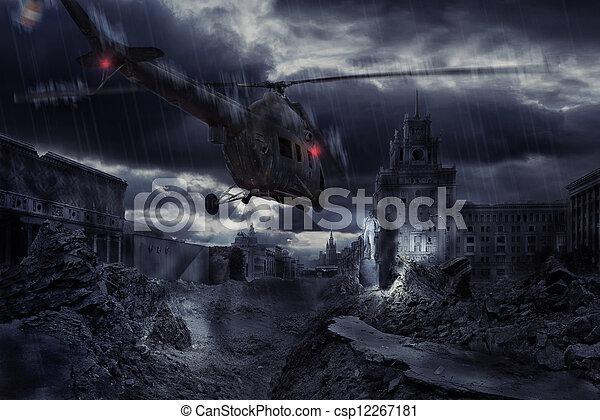 都市, 上に, 台無しにされる, 嵐, ヘリコプター, の間 - csp12267181