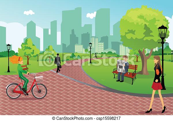 都市 公園, 人々 - csp15598217