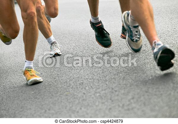 都市, 動くこと, マラソン, 人々 - csp4424879