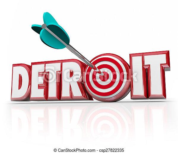都市, 単語, ターゲット, 自動車, 産業, 中心部, 矢, デトロイト, モーター - csp27822335