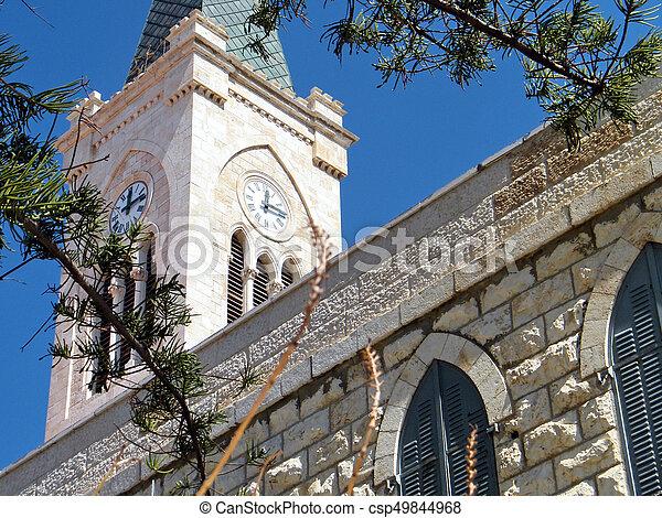 都市, 古い, 時計, st. 。, 教会, タワー, anthony's, jaffa - csp49844968