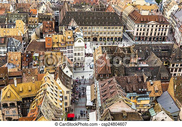 都市, 古い, 航空写真, ストラスブール, 光景 - csp24804607