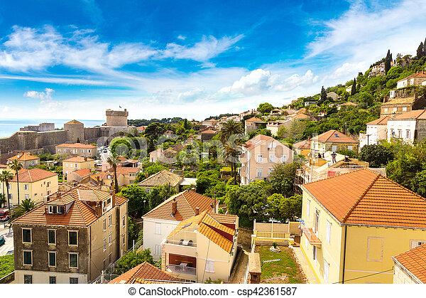 都市, 古い, croatia, dubrovnik - csp42361587
