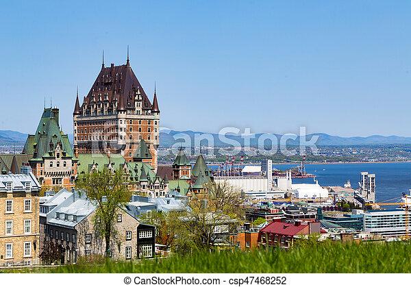 都市, 古い, lawrence, st., ケベック, 川 - csp47468252