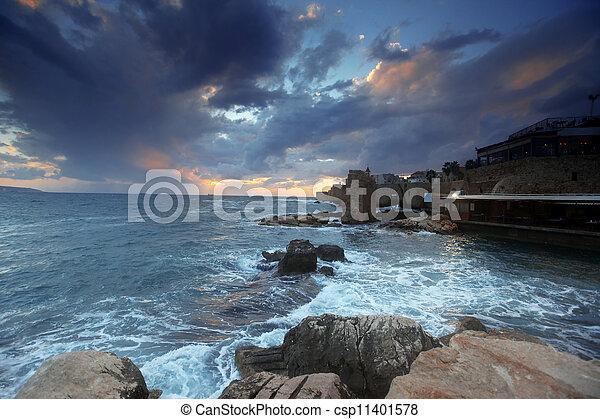 都市, 地中海, galilee, 日没, エーカー, 西部 - csp11401578
