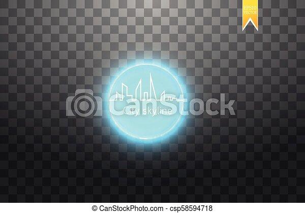 都市, 大きい, 絶え間がない, ネオン, 効果, スカイライン, ベクトル, 線画 - csp58594718
