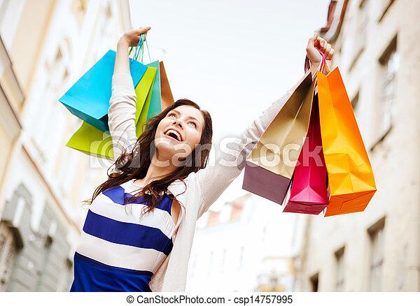 都市, 女性買い物, 袋 - csp14757995