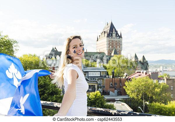 都市, 女, 国民, frontenac, ケベック, 前部, 城, 休日, 祝う - csp62443553