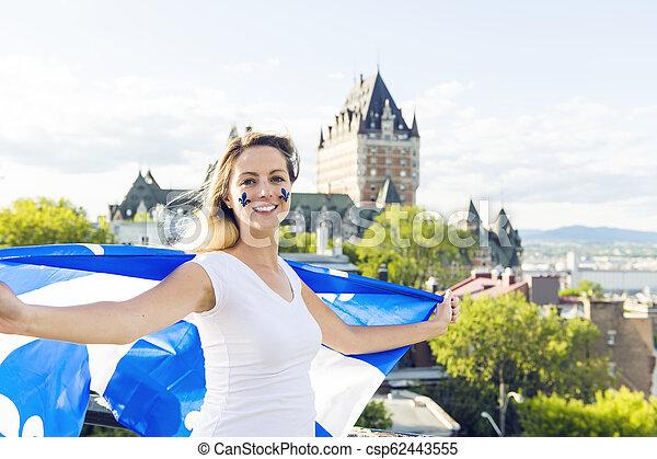 都市, 女, 国民, frontenac, ケベック, 前部, 城, 休日, 祝う - csp62443555