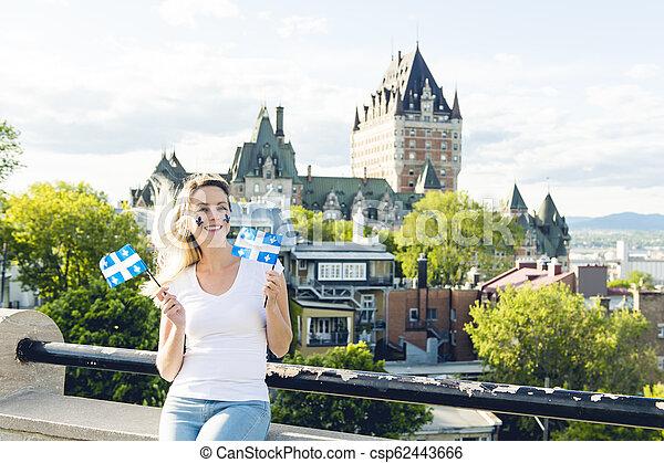 都市, 女, 国民, frontenac, ケベック, 前部, 城, 休日, 祝う - csp62443666