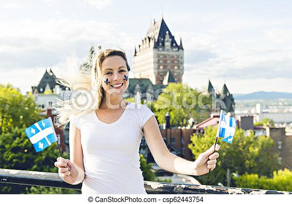 都市, 女, 国民, frontenac, ケベック, 前部, 城, 休日, 祝う - csp62443754
