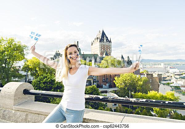 都市, 女, 国民, frontenac, ケベック, 前部, 城, 休日, 祝う - csp62443756