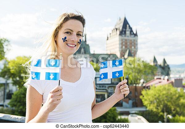 都市, 女, 国民, frontenac, ケベック, 前部, 城, 休日, 祝う - csp62443440