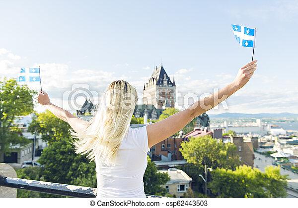 都市, 女, 国民, frontenac, ケベック, 前部, 城, 休日, 祝う - csp62443503